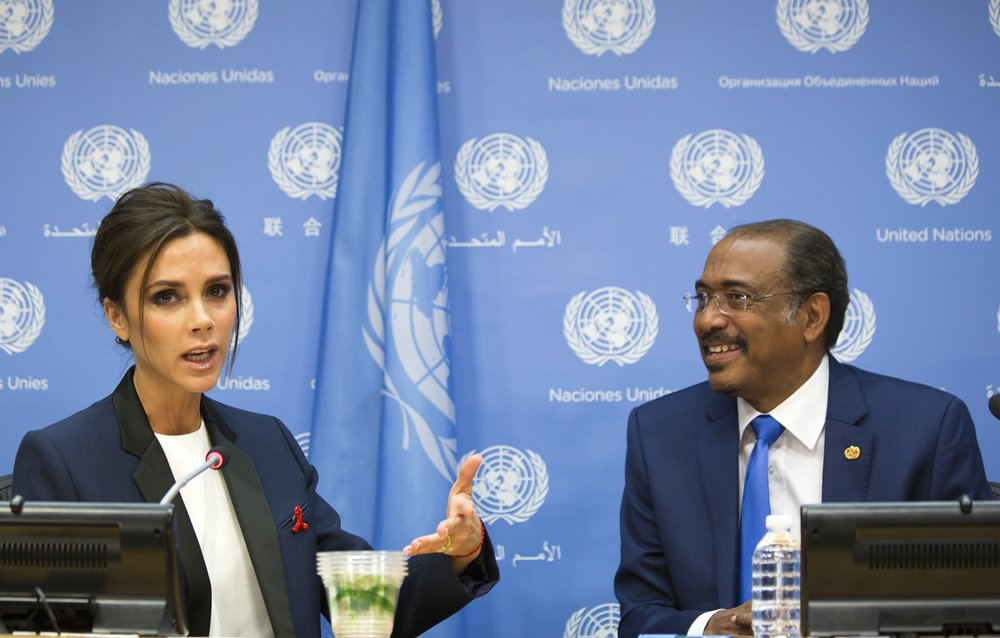 The 69th Session of the UN General Assembly, New York, USA, September25 2014 - Michel Sidibe, Executive Director of the Joint United Nations Programme on HIV and AIDS (UNAIDS), jointly addressed a press conference with British fashion designer Victoria Beckham, announcing Ms. Beckham's appointment as Goodwill Ambassador for UNAIDS. On the Photo: Victoria Beckham British fashion designer and Michel Sidibe of UNAIDS Credit: Luiz Rampelotto/EuropaNewswire