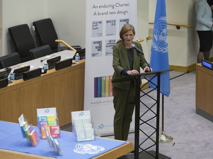 United Nations, New York, USA, June 26 2015 - Samantha Power United States Ambassador to the United Nations speaks at the special event to mark the 70th anniversary of the signing of the United Nations Charter.  On the Photo:  Samantha Power United States Ambassador to the United Nations Credit: Luiz Rampelotto/EuropaNewswire