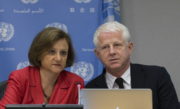 UNITED NATIONS, NEW YORK, USA, September 03 2015 -  Cristina Gallach along with Richard Curtis, filmmaker and founder of Project Everyone, which aims to share the Sustainable Development Goals with 7 billion people within 7 days of their adoption by the UN Sustainable Development Summit in September, briefs journalists on the campaign at the United Nations Headquarters in New York City Credit: Luiz Rampelotto/EuropaNewswire