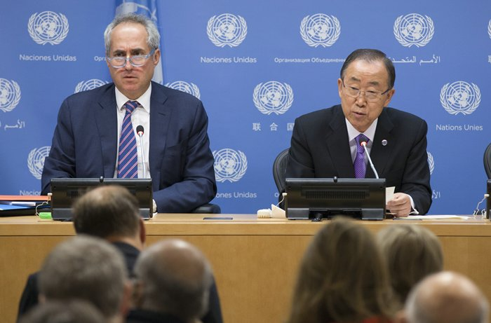 UNITED NATIONS, NEW YORK, USA, september 16 2015 - Secretary-General Ban Ki-moon addresses journalists at one of his rare press conference at the United Nations Headquarters in New York City. Mr. Ban talk about his achievements of this year and the open or the 70th Session of the General Assembly. He is flanked by his spokesperson Stephane Dujarric (left).