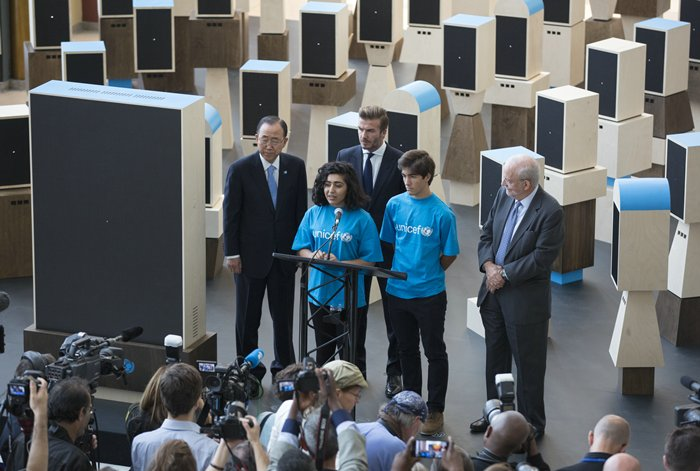 UNITED NATIONS, NEW YORK, USA, 24 of September 2015 - Secretary-General Ban Ki-moon (left) with Anthony Lake (R), UNICEF Executive Director and David Beckham, Goodwill Ambassador for the UN Children?s Fund at a UNICEF event entitled, Giving Youth a Voice today at the United Nations Headquarters in New York City. Photo by: Luiz Rampelotto/EuropaNewswire