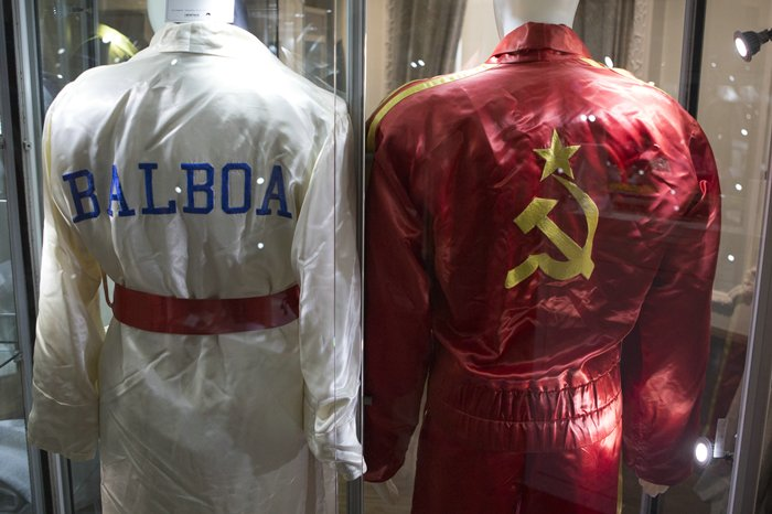 """Fletcher-Sinclair Mansion, New York, USA, October 20 2015 - Props and costumes from Stallone's famous films such as """"Rocky,"""" """"Rambo"""" and """"The Expendables,"""" along with some of his personal items will be sold at auction in Los Angeles, December 18-19, 2015, by Heritage Auctions with a portion of the proceeds going to charity. The Props are available for the public to see at Fletcher-Sinclair Mansion in New York City. (Photo by: Luiz Rampelotto/EuropaNewswire)"""