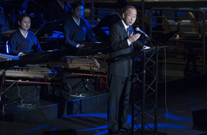 United Nations, New York, USA, October 23 2015 - Secretary General Ban Ki-moon at the UN Headquarters for the 70th UN Anniversary Concert on October 23, 2015 in New York City. (Photos by: Luiz Rampelotto/EuropaNewswire)