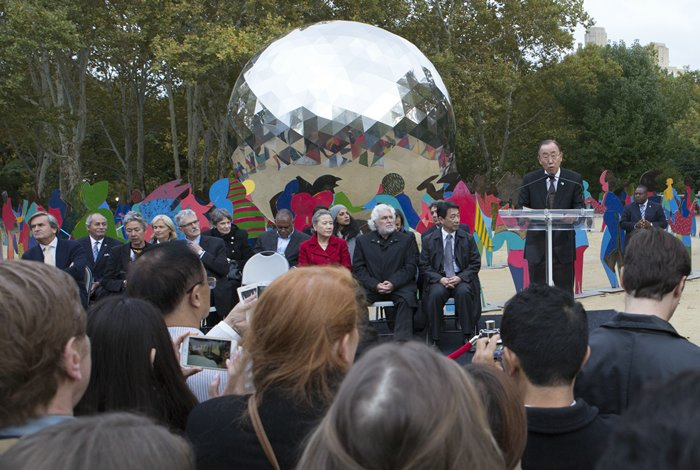 Central Park, New York, USA - Secretary General Ban Ki-moon, wife Yoo Soon-taek, Spanish artist Cristobal Gabarron his Son Cris Gabarron along with United Nations Top Officials attend today October 24 2015 in Central Park New York the Opening of Enlightened Universe a Sculpture commemorating the 70th Anniversary of the UN. (Photos by: Luiz Rampelotto/EuropaNewswire)
