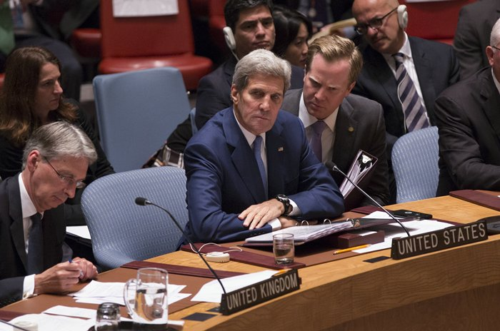 United Nations, New York, USA, September 30 2015 - John Kerry, Secretary of State of the United States, during the Ministerial Level Security Council meeting on the maintenance of international peace and security in the Middle East and North Africa and countering terrorist threats in the region. Credit: Luiz Rampelotto/EuropaNewswire