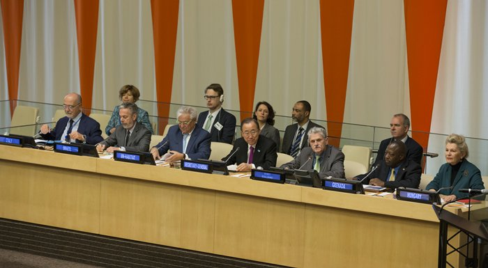 "United Nations, New York, USA, October 05 2015 - Secretary-General Ban Ki-moon gives his remarks at a high-level discussion on ""Public Spaces for All"", organized by the United Nations Human Settlements Programme (UN Habitat) as part of this year's World Habitat Day celebration. World Habitat Day is observed every year on the first Monday of October and this year's theme aims to emphasize the importance of public spaces in communities and as a way for social and cultural interaction.  Credit: Luiz Rampelotto/EuropaNewswire"