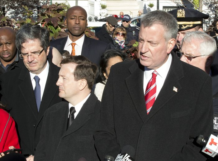 Washington Square Park, New York, USA, November 14 2015 - Mayor Bill de Blasio is joined by Franois Delattre, French representative to the U.N., center left, and Bertrand Lortholary (C), consul general of France in New York at the vigil in Washington Square Park to honor the victims of the Paris attacks . (Photos by: Luiz Rampelotto/EuropaNewswire)