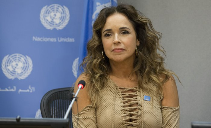 Daniela Mercury, Brazilian singer, activist and UN Equality Champion, briefs journalists on the protection of the rights of lesbian, gay, bisexual, transgender and intersex (LGBTI) people in Latin America. Joining her in the briefing were her wife, Malu Verosa Mercury; and Charles Radcliffe, Officer-in-Charge of the New York Office of the UN High Commissioner for Human Rights Photos by: Luiz Rampelotto/EuropaNewswire
