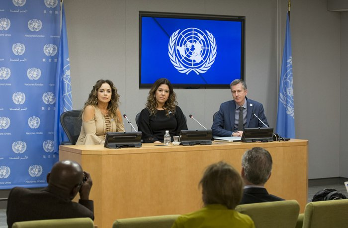 United Nations, New York, USA, November 20 2015 - Daniela Mercury, Brazilian singer, activist and UN Equality Champion, briefs journalists on the protection of the rights of lesbian, gay, bisexual, transgender and intersex (LGBTI) people in Latin America. Joining her in the briefing were her wife, Malu Verosa Mercury; and Charles Radcliffe, Officer-in-Charge of the New York Office of the UN High Commissioner for Human Rights (Photos by: Luiz Rampelotto/EuropaNewswire)