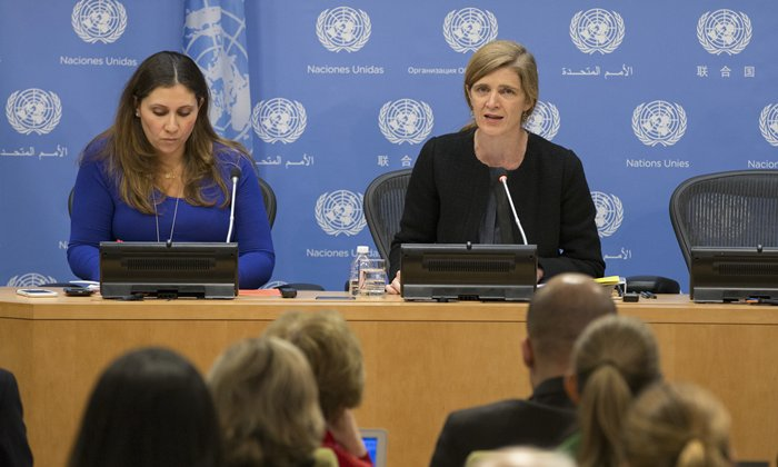 United Nations, New York, USA, December 01 2015 - Samantha Power (R), United States Permanent Representative to the UN and President of the Security Council for December, briefs journalists on the Councils programme of work for the December today in New York City ( Photos by: Luiz Rampelotto/EuropaNewswire )
