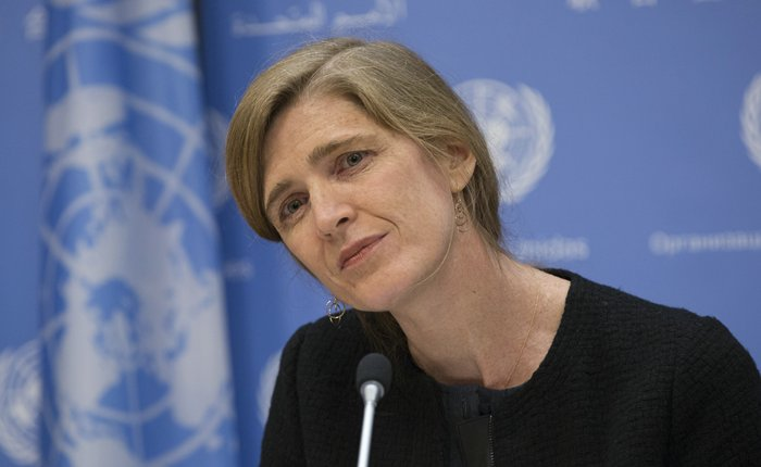 United Nations, New York, USA, December 01 2015 - Samantha Power, United States Permanent Representative to the UN and President of the Security Council for December, briefs journalists on the Councils programme of work for the December today in New York City ( Photos by: Luiz Rampelotto/EuropaNewswire )
