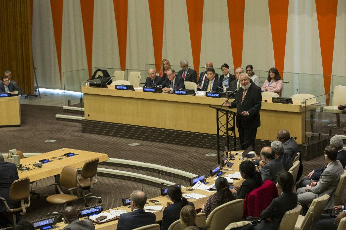 United Nations, New York, USA, January 22 2016 - Juan Somavia, former President of ECOSOC, speaks at a special event to commemorate the 70th Anniversary of the Economic and Social Council today at the UN Headquarters in New York. Photo by: Luiz Rampelotto/EuropaNewswire