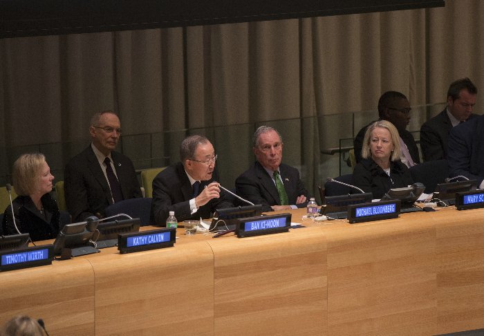 United Nations, New York, USA, January 27 2016 - Michael Bloomberg, Secretary-General's Special Envoy for Climate Change, speaks at the 2016 Investor Summit on Climate Risk. The event was co-hosted by United Nations Foundation, Ceres and the United Nations Office for Partnerships today at the UN Headquarters in New York. Photo by: Luiz Rampelotto/EuropaNewswire