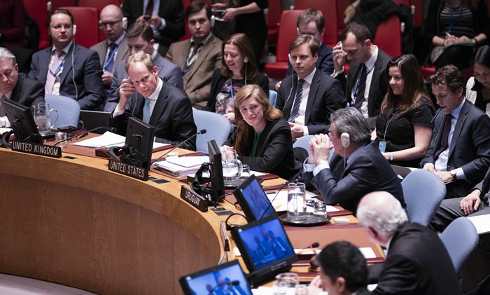 United Nations, New York, USA, February 26 2016 - Samantha Power, United States Permanent Representative to the UN during the Security Council adoption of resolution 2268 (2016), endorsing the cessation of hostilities in Syria today at the UN Headquarters in New York. Photo by: Luiz Rampelotto/EuropaNewswire