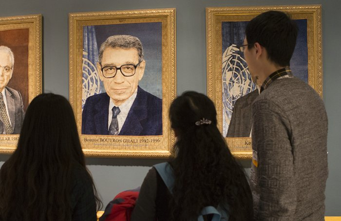 United Nations, New York, USA, February 16 2016 - UN personal and visitors pay their respects in silence on the occasion of the death of the former Secretary-General Boutros Boutros-Ghali today at the UN Headquarters in New York. Photo by: Luiz Rampelotto/EuropaNewswire