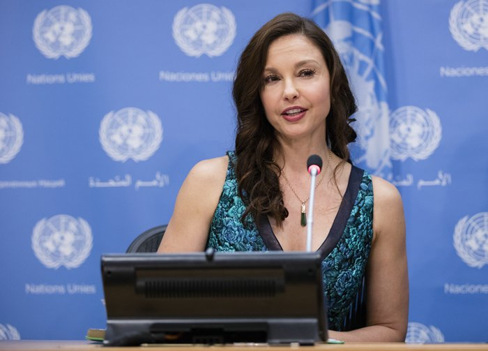 United Nations, New York, USA, March 15 2016 - Ashley Judd speaks at a press conference on her appointment as the UN Population Fund's (UNFPA) new Goodwill Ambassador today at the UN Headquarters in New York. Photo by: Luiz Rampelotto/EuropaNewswire