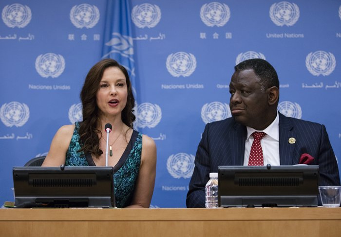 United Nations, New York, USA, March 15 2016 - Babatunde Osotimehin (right), United Nations Population Fund (UNFPA) Executive Director, speaks at a press conference on the appointment of acclaimed actor Ashley Judd (left) as UNFPA's new Goodwill Ambassador today at the UN Headquarters in New York. Photo by: Luiz Rampelotto/EuropaNewswire