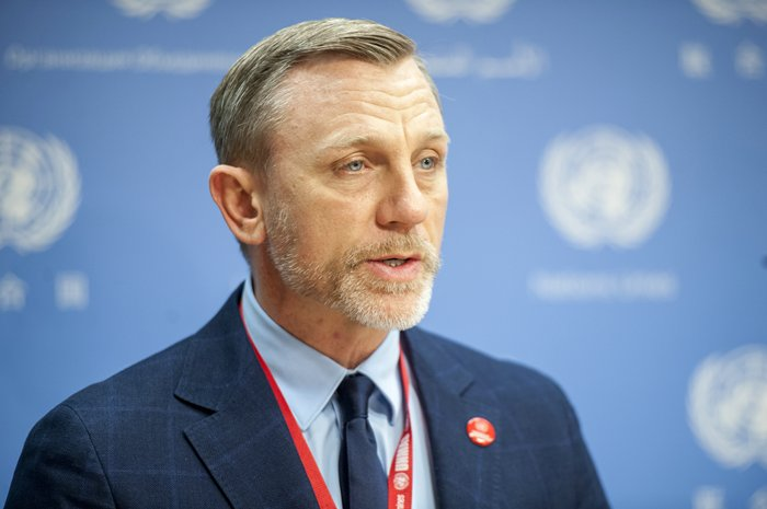 United Nations, New York, USA, April 04 2016 - Daniel Craig, actor and UN Global Advocate for the Elimination of Mines and Other Explosive Hazards during his visit to the UN Headquarters in New York. Photo: Cia Pak/EuropaNewswire