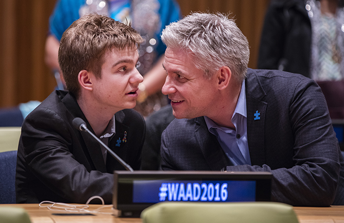 "United Nations, New York, USA, April 01 2016 - A father and son participated on a special event on the occasion of World Autism Awareness Day (2 April). With the theme ""Autism and the 2030 Agenda: Inclusion and Neurodiversity"" today at the UN Headquarters in New York. Photo: Luiz Rampelotto/EuropaNewswire"