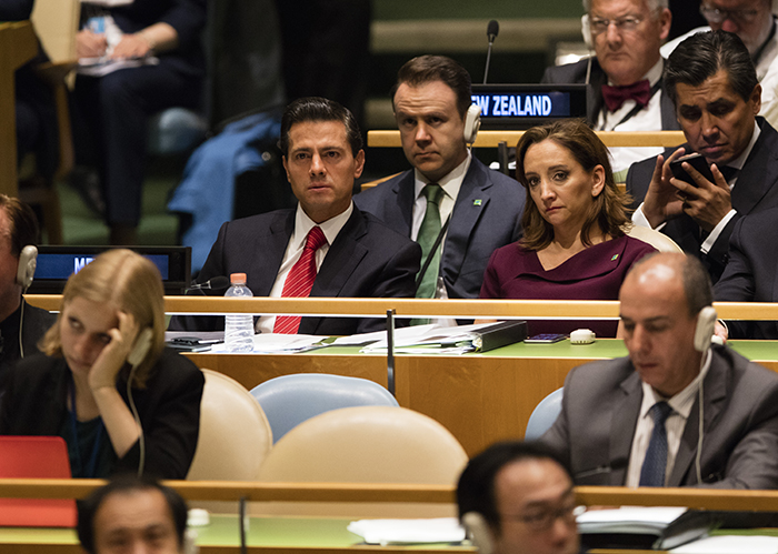 United Nations, New York, USA, April 19 2016 - Enrique Pena Nieto, President of Mexico along with Claudia Ruiz Massieu, Mexico's minister of foreign affairs and his delegation during the Thirtieth special session of the General Assembly on the World Drug Problem today at the UN Headquarters in New York. Photo: Luiz Rampelotto/EuropaNewswire