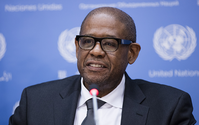 United Nations, New York, USA, April 21 2016 - Oscar-winning actor and UNESCO special envoy for peace Forest Whitaker holds a press conference today at the UN Headquarters in New York on the Sustainable Development Goals meetings that is taking place at the UN General Assembly. Photo by: Luiz Rampelotto/EuropaNewswire