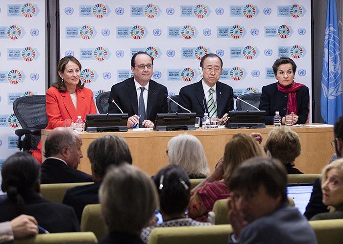 United Nations, New York, USA, April 22 2016 - Secretary-General Ban Ki-moon (right) speaks to the media following the Signing Ceremony for the Paris Agreement on Climate Change. More than 165 Member States were expected to attend the signing ceremony, including an estimated 60 Heads of States and Heads of Governments, setting an all-time record for countries signing an international agreement on a single day. Mr. Ban is joined by (from left) Ségolène Royal, Minister of the Environment, Energy and Marine Affairs of France; François Hollande, President of France; and Christiana Figueres, Executive Secretary of the UN Framework Convention on Climate Change (UNFCCC).  Photo by: Luiz Rampelotto/EuropaNewswire