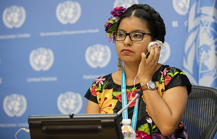 United Nations, New York, USA, May 12 2016 - Dali Angel Zapotec, Co-chair of the Global Indigenous Youth Caucus (Mexico) during a Press conference on Indigenous Youth Overcoming the Challenges of Self-Harm and Suicide today at the UN Headquarters in New York. Photo: Luiz Rampelotto/EuropaNewswire