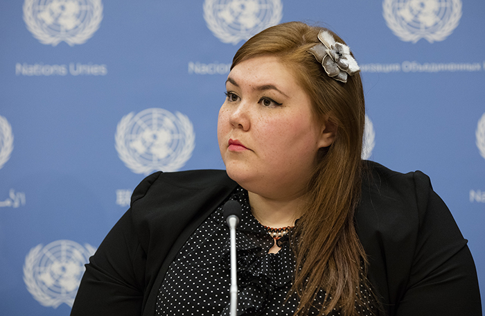 United Nations, New York, USA, May 12 2016 - Sarah Lynn Olayok Jancke, Arctic Focal Point to the Global Indigenous Youth Caucus (Canada) during a Press conference on Indigenous Youth Overcoming the Challenges of Self-Harm and Suicide today at the UN Headquarters in New York. Photo: Luiz Rampelotto/EuropaNewswire