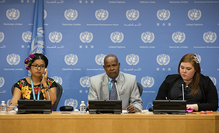 United Nations, New York, USA, May 12 2016 - Dali Angel Zapotec (left), Co-chair of the Global Indigenous Youth Caucus (Mexico), Joseph Goko Mutangah (center) , Member of the Permanent Forum on Indigenous Issues (Kenya) and Sarah Lynn Olayok Jancke, Arctic Focal Point to the Global Indigenous Youth Caucus (Canada) during a Press conference on Indigenous Youth Overcoming the Challenges of Self-Harm and Suicide today at the UN Headquarters in New York. Photo: Luiz Rampelotto/EuropaNewswire