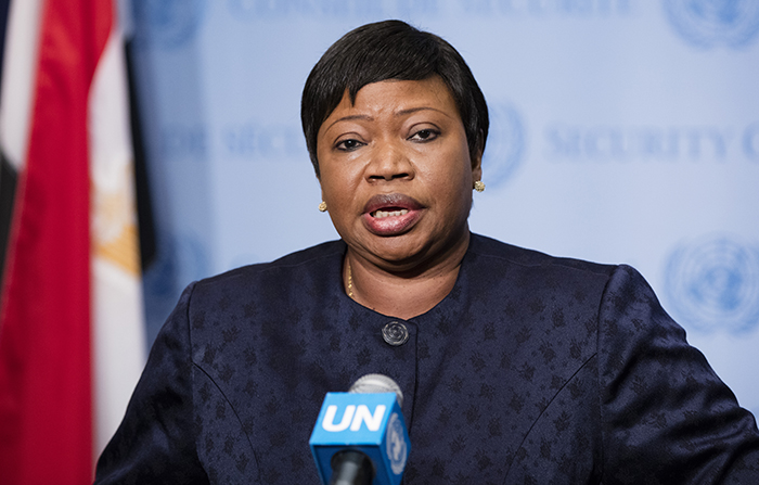 United Nations, New York, USA, May 26 2016 - Fatou Bensouda, Prosecutor of the International Criminal Court (ICC), speaks to journalists after briefing the Security Council at its meeting on the situation in Libya today at the UN Headquarters in New York. Photo: Luiz Rampelotto/EuropaNewswire