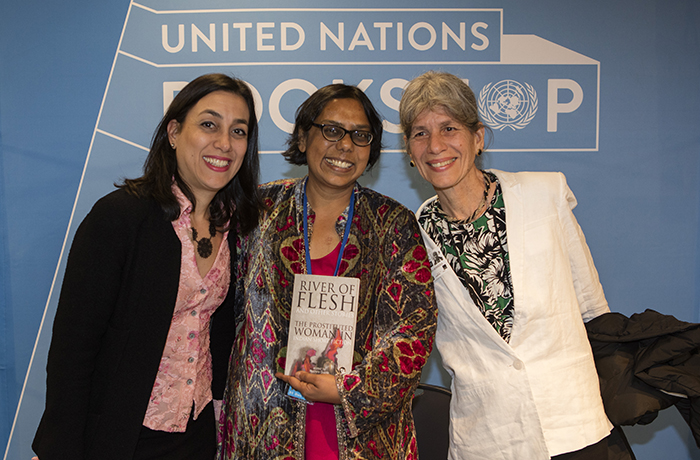 "United Nations, New York, USA, May 03 2016 - Book Signing by Ruchira Gupta of River of ""Flesh and Other Stories: The Prostituted Woman in Indian Short Fiction"" today at the UN Headquarters in New York. Photo: Luiz Rampelotto/EuropaNewswire"
