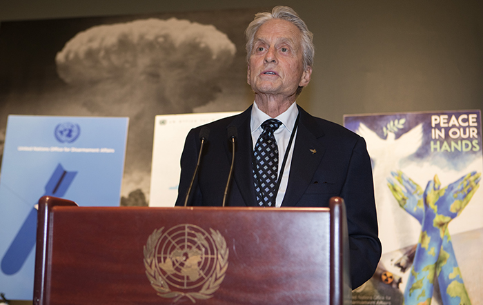 United Nations, New York, USA, May 03 2016 - UN Messenger of Peace Michael Douglas along with Secretary General Ban Ki-Moon and a group of UN dignitaries  promotes peace and abolition of nuclear weapons through art today at the UN Headquarters in New York. Photo: Luiz Rampelotto/EuropaNewswire