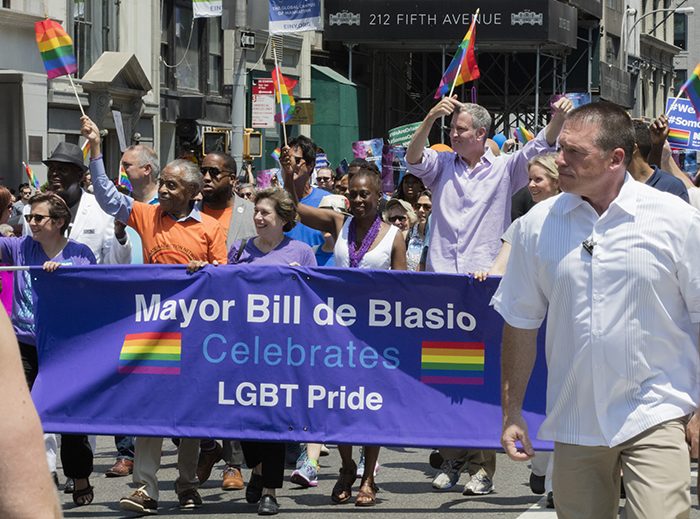 Fifth Avenue, New York, USA, June 26 2016 - Mayor Bill  de Blasio Participated on the 46th Lesbian, Gay, Bisexual and Transgender Pride March today in New York City. The 2016 NYC Pride Theme was ?Equality Needs You? and the march was composed by over 30,000 Marchers. Photo: Luiz Rampelotto/EuropaNewswire