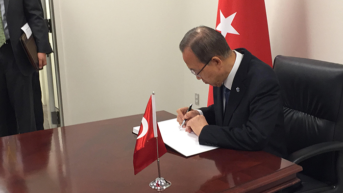 United Nations, New York, USA, June 30 2016 -  Secretary-General Ban Ki-moon signs a book of condolences at the Permanent Mission of Turkey to the United Nation, on the loss of lives as a result of the 28 June terrorist attack at the Ataturk International Airport in Istanbul.  Photo: Kahraman Haliscelik