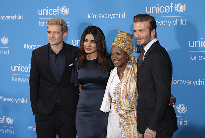 United Nations, New York, USA, 12th December, 2016 - Orlando Bloom, Priyanka Chopra, Angelique Kidjo and UNICEF Goodwill Ambassador David Beckham attend UNICEF's 70th Anniversary Event at United Nations Headquarters in New York.  Photo: Luiz Rampelotto/EuropaNewswire