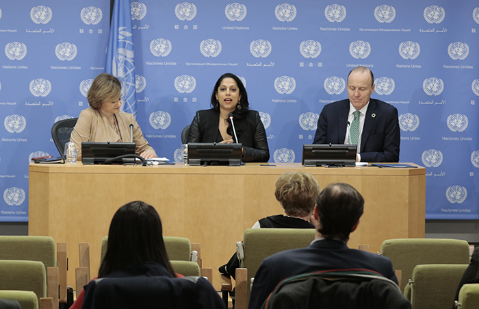 United Nations, New York, USA, 06 December, 2016 - Penny Abeywardena (center), New York City Commissioner for International Affairs, briefs the press during the launch of a report on the United Nations' economic impact on the city of New York Cristina Gallach, Under-Secretary-General for Communications and Public Information, sits to her right, and Peter Yeo, President of the Better World Campaign and Vice President for Public Policy and Advocacy at the United Nations Foundation today at the United Nations Headquarters in New York.  Photo: Luiz Rampelotto/EuropaNewswire