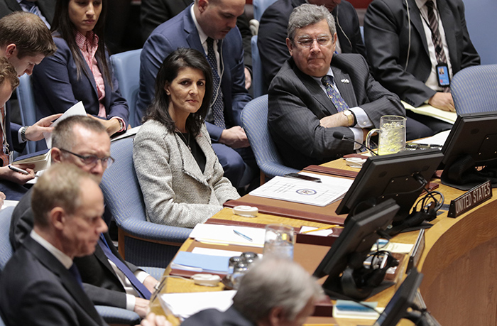 "United Nations, New York, USA, 15 March 2017 - U.S. Permanent Representative to UN Nikki Haley During the Security Council open debate on ""Trafficking in persons in conflict situations: forced labour, slavery and other similar practices"" today at the UN Headquarters in New York. Photo: Luiz Rampelotto/EuropaNewswire"